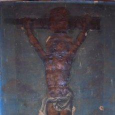 Arte: ANTIGUA PINTURA / GRABADO , CRISTO , CON PAISAJE , S.XVIII - ( EL CRISTO ES UN GRABADO COLOREADO. Lote 110648775