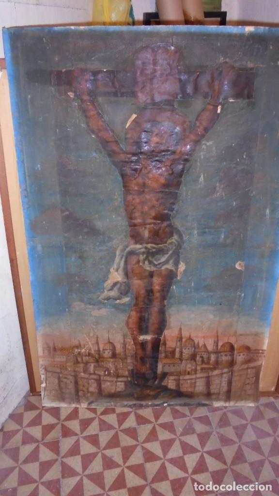 Arte: ANTIGUA PINTURA / GRABADO , CRISTO , CON PAISAJE , S.XVIII - ( EL CRISTO ES UN GRABADO COLOREADO - Foto 3 - 110648775