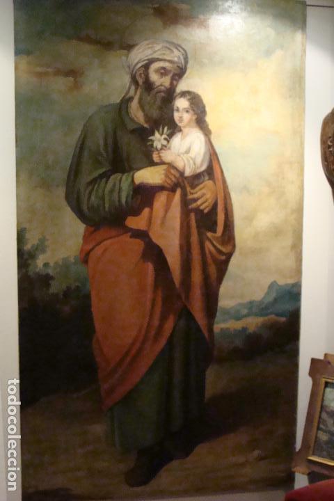 ÓLEO SOBRE LIENZO SAN JOSÉ - FIRMADO - SIGLO XIX (Arte - Arte Religioso - Pintura Religiosa - Oleo)