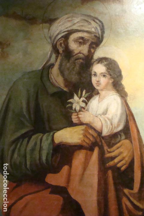Arte: Óleo sobre lienzo San José - Firmado - Siglo XIX - Foto 3 - 110676143