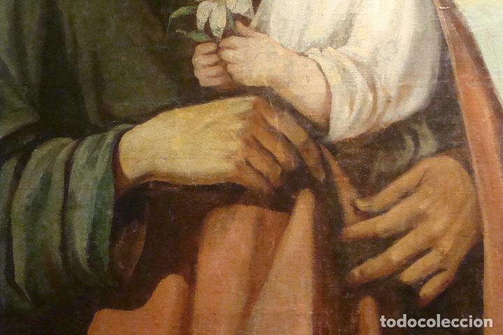 Arte: Óleo sobre lienzo San José - Firmado - Siglo XIX - Foto 5 - 110676143