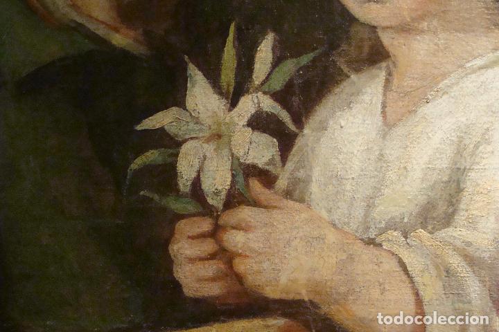 Arte: Óleo sobre lienzo San José - Firmado - Siglo XIX - Foto 10 - 110676143