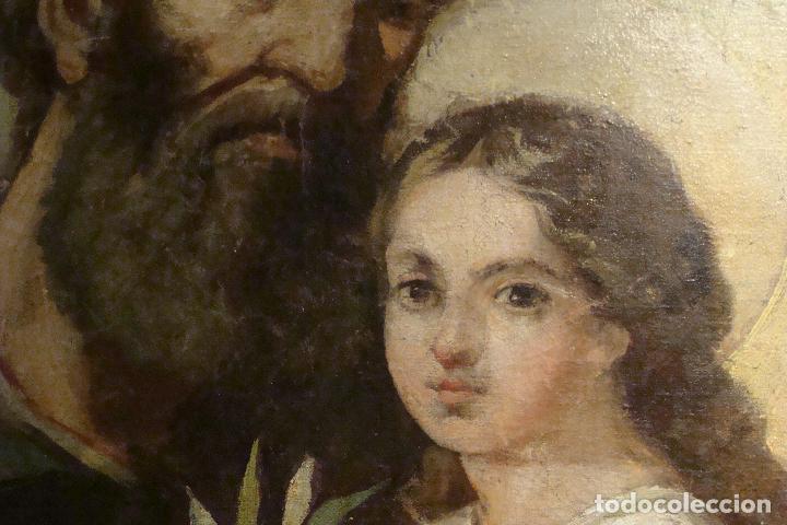 Arte: Óleo sobre lienzo San José - Firmado - Siglo XIX - Foto 11 - 110676143