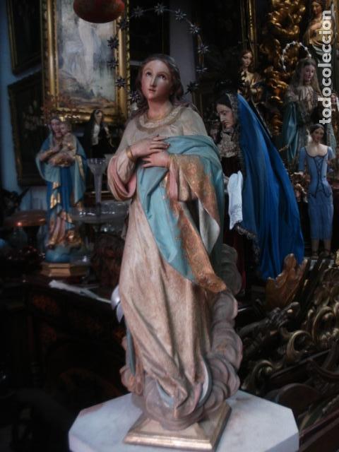 TALLA DE MADERA INMACULADA CONCEPCIÓN CORONA DE PLATA SXIX (Arte - Arte Religioso - Escultura)