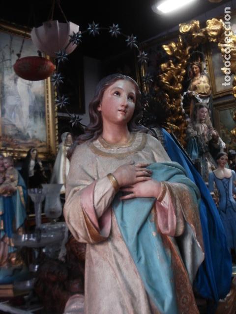Arte: Talla de madera Inmaculada Concepción corona de plata sXIX - Foto 2 - 110764443