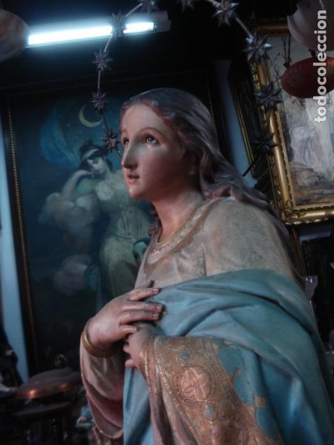 Arte: Talla de madera Inmaculada Concepción corona de plata sXIX - Foto 3 - 110764443