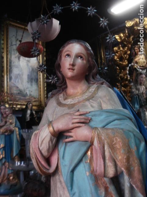 Arte: Talla de madera Inmaculada Concepción corona de plata sXIX - Foto 5 - 110764443