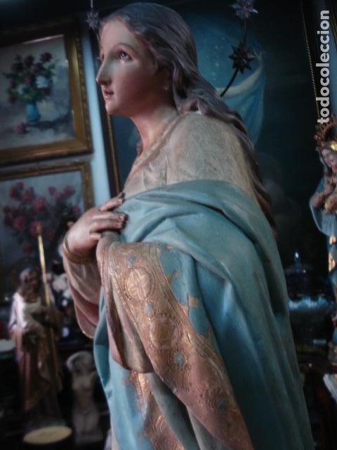 Arte: Talla de madera Inmaculada Concepción corona de plata sXIX - Foto 6 - 110764443