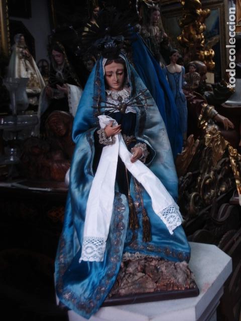 Arte: Magnífica Virgen Dolorosa en el Calvario sXIX talla de madera - Foto 4 - 110764919