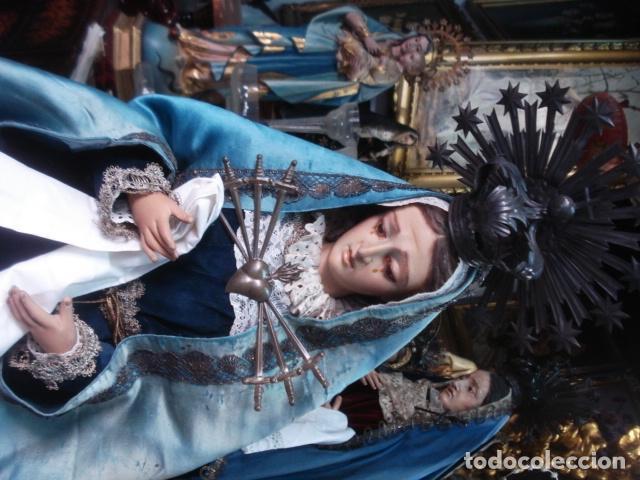 Arte: Magnífica Virgen Dolorosa en el Calvario sXIX talla de madera - Foto 9 - 110764919