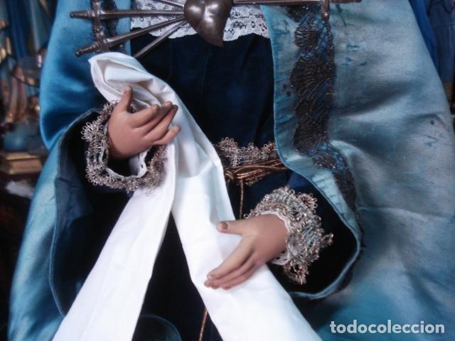 Arte: Magnífica Virgen Dolorosa en el Calvario sXIX talla de madera - Foto 11 - 110764919