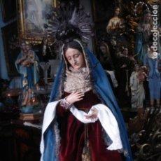 Arte: DOLOROSA ENTRONIZADA TALLA DE MADERA ESCUELA ESPAÑOLA. Lote 110765035