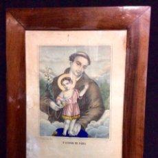 Arte: GRABADO ACUARELADO DE SAN ANTONIO DE PADUA, FINALES S. XIX, ENMARCACIÓN ORIGINAL.. Lote 110873924