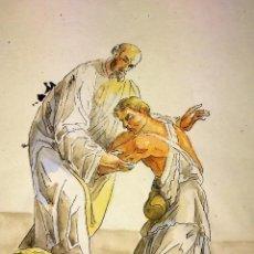 Arte: EL HIJO PRÓDIGO. ACUARELA SOBRE PAPEL. ATRIBUIDO GORGUES. ESPAÑA. CIRCA 1950. Lote 110898311