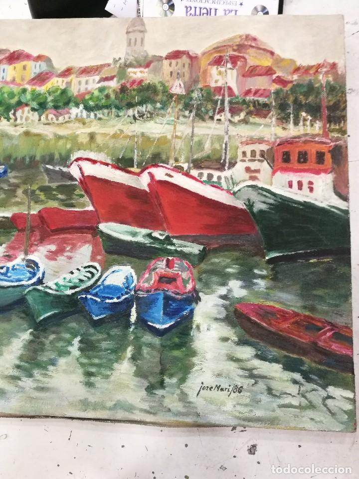 Arte: Oleo de barcos amarrados firmado josemari 86 - Foto 2 - 110956779