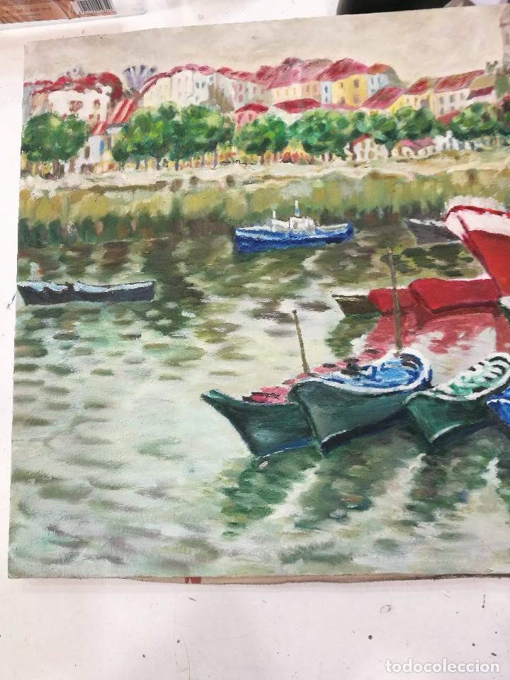 Arte: Oleo de barcos amarrados firmado josemari 86 - Foto 3 - 110956779