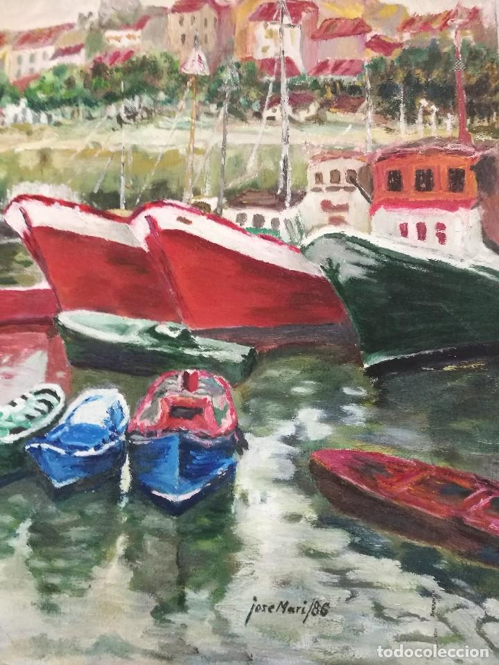 Arte: Oleo de barcos amarrados firmado josemari 86 - Foto 4 - 110956779