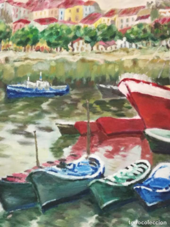 Arte: Oleo de barcos amarrados firmado josemari 86 - Foto 6 - 110956779