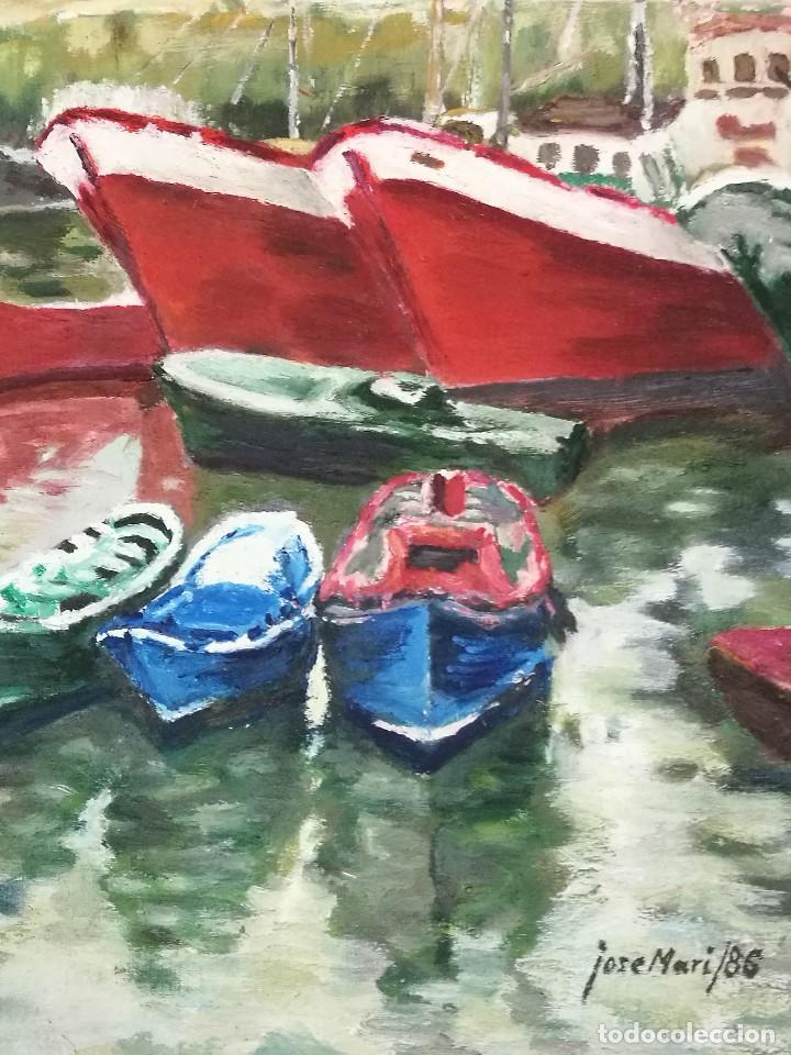 Arte: Oleo de barcos amarrados firmado josemari 86 - Foto 8 - 110956779
