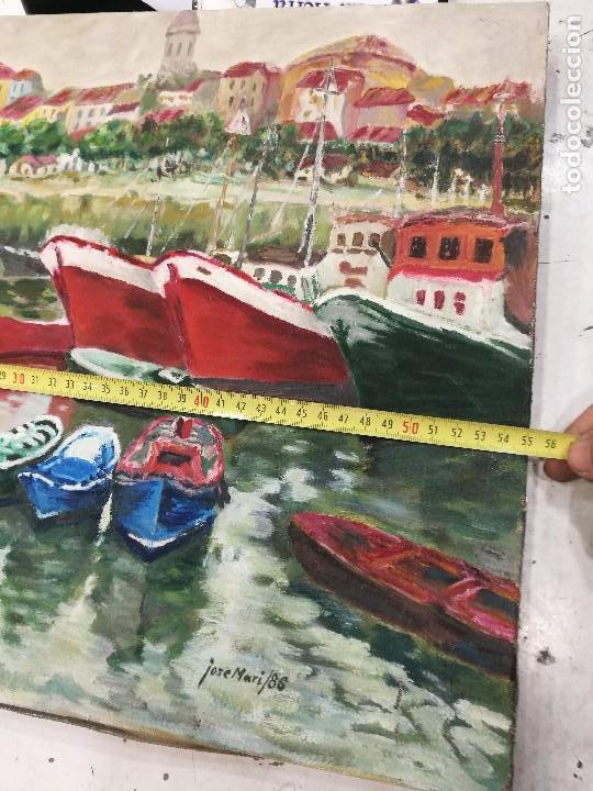 Arte: Oleo de barcos amarrados firmado josemari 86 - Foto 9 - 110956779