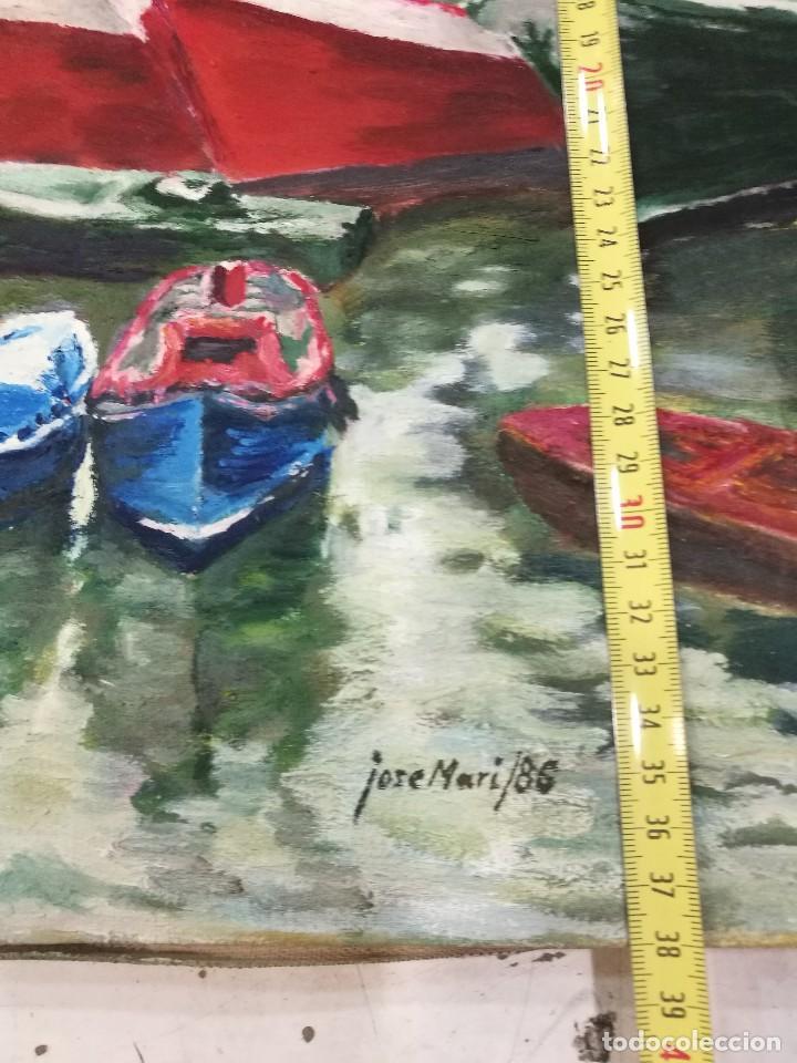 Arte: Oleo de barcos amarrados firmado josemari 86 - Foto 10 - 110956779
