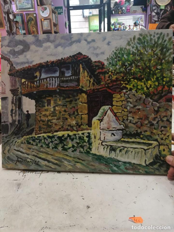 OLEO SOBRE LIENZO DE FUENTE EN UN PUEBLO.FIRMADO JOSEMARI 85 (Arte - Arte Religioso - Pintura Religiosa - Oleo)