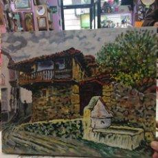 Arte: OLEO SOBRE LIENZO DE FUENTE EN UN PUEBLO.FIRMADO JOSEMARI 85. Lote 110958443