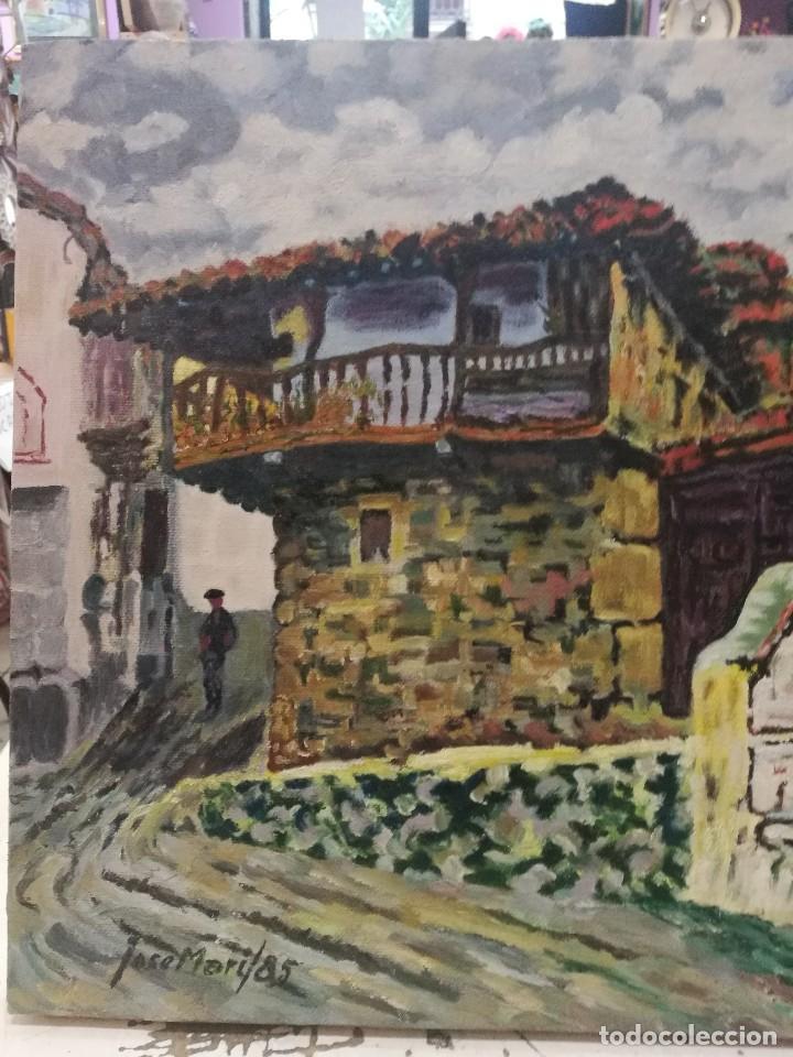 Arte: Oleo sobre lienzo de fuente en un pueblo.firmado josemari 85 - Foto 2 - 110958443