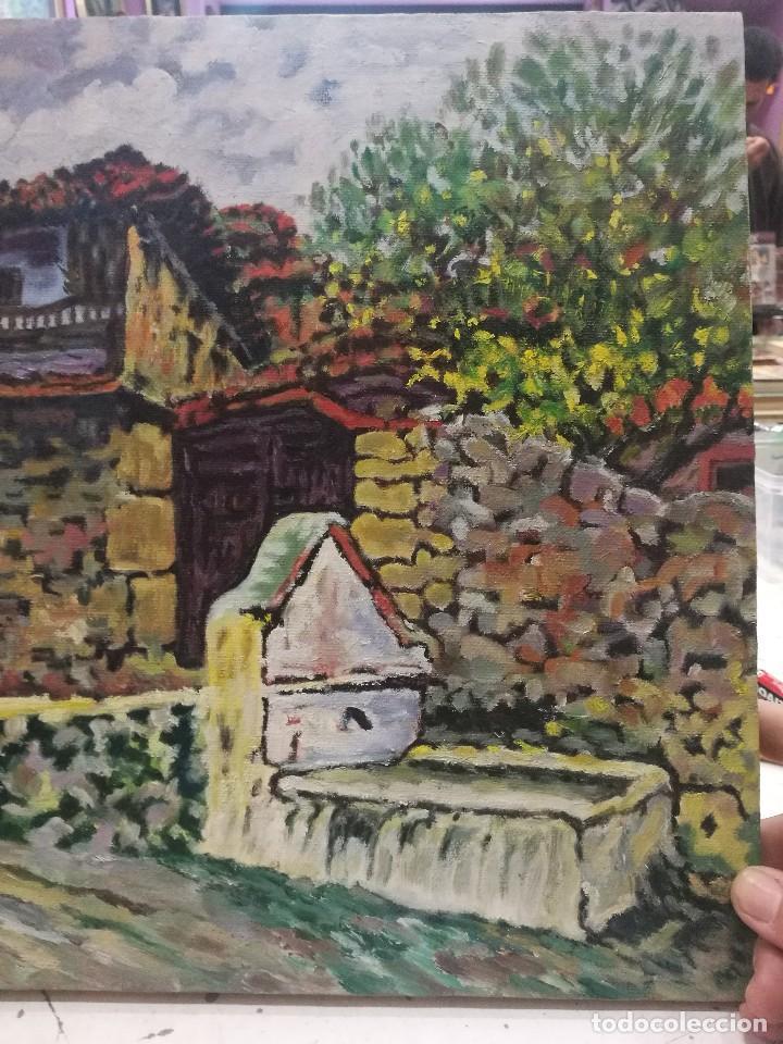 Arte: Oleo sobre lienzo de fuente en un pueblo.firmado josemari 85 - Foto 3 - 110958443