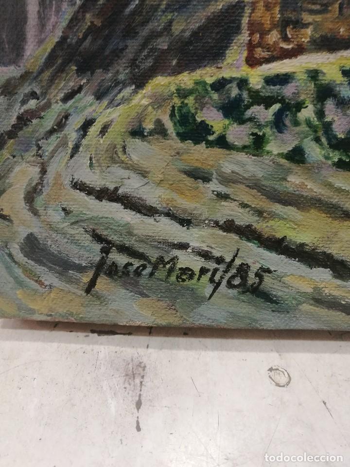 Arte: Oleo sobre lienzo de fuente en un pueblo.firmado josemari 85 - Foto 4 - 110958443