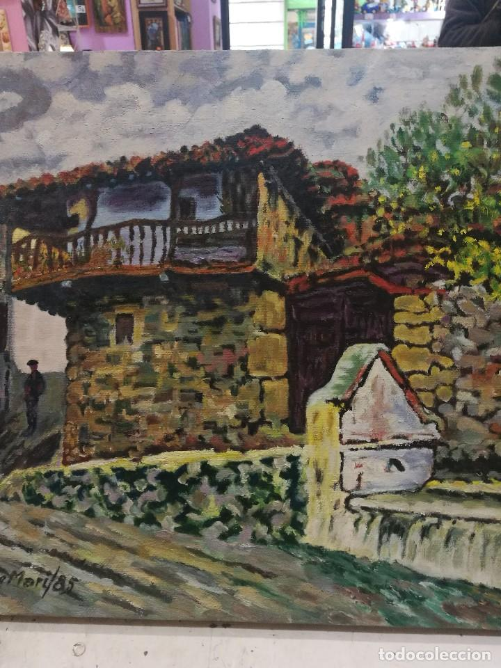 Arte: Oleo sobre lienzo de fuente en un pueblo.firmado josemari 85 - Foto 5 - 110958443