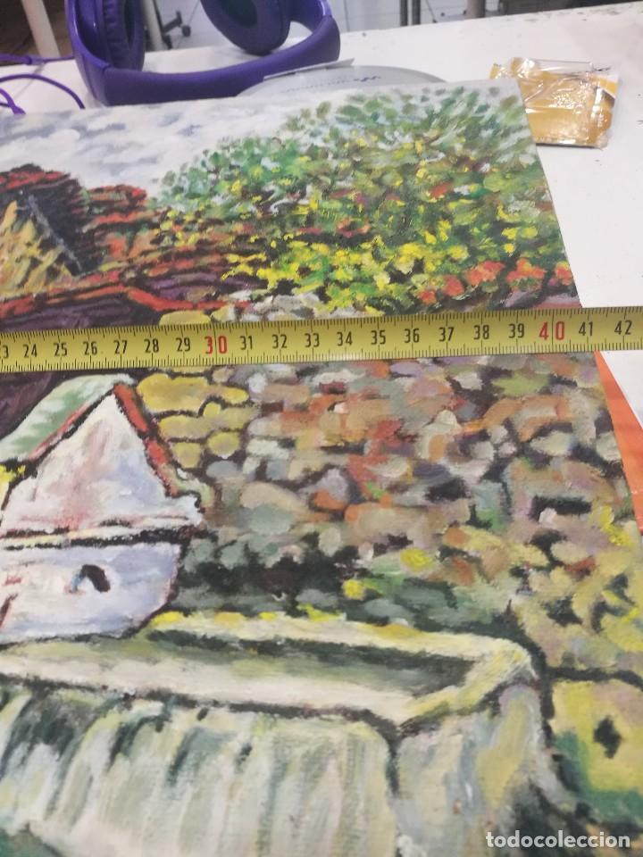 Arte: Oleo sobre lienzo de fuente en un pueblo.firmado josemari 85 - Foto 6 - 110958443