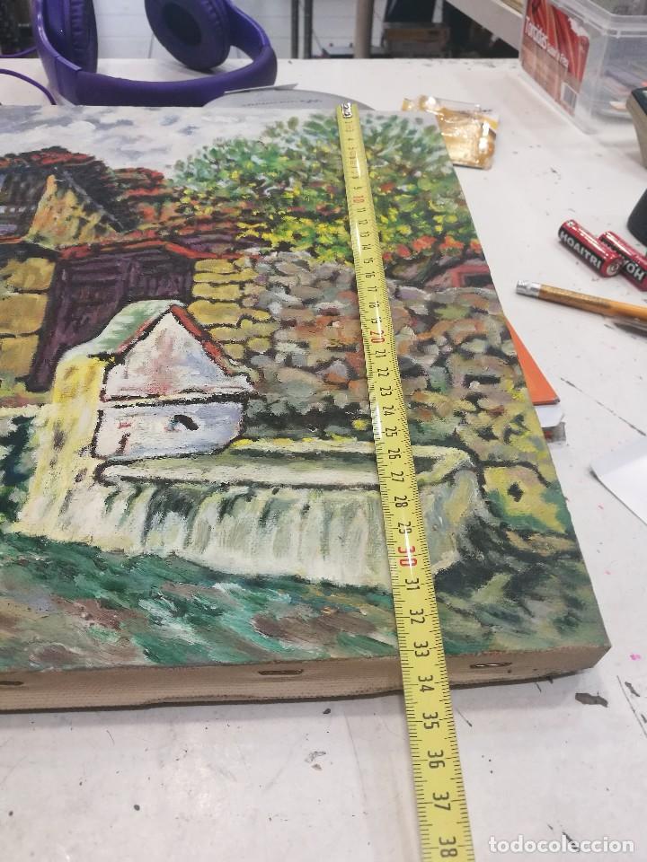 Arte: Oleo sobre lienzo de fuente en un pueblo.firmado josemari 85 - Foto 7 - 110958443