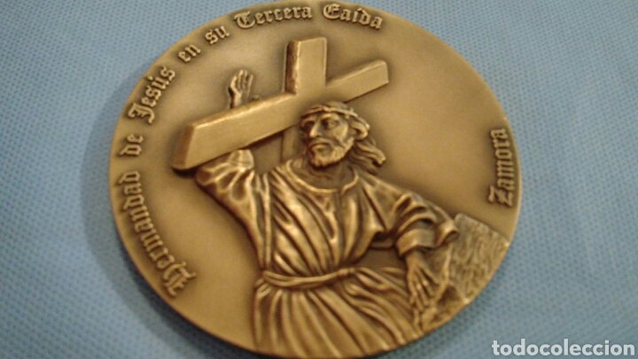 Arte: METOPA DE BRONCE PULIDO, JESÚS EN SU TERCERA CAÍDA, ZAMORA, CINCUENTENARIO 1943-1992 - Foto 2 - 111065243