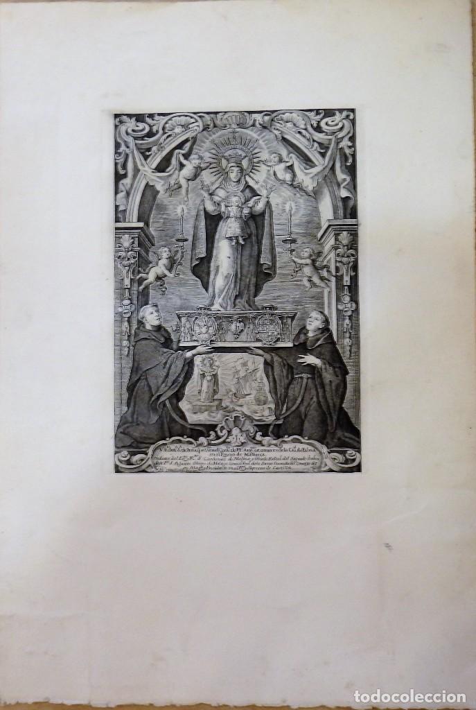 ESPECTACULAR GRABADO DE NTRA.SRA. DE ITRIA, CONVENTO AGUSTINOS, PALMA DE MALLORCA, LEER MEDIDAS (Arte - Arte Religioso - Grabados)