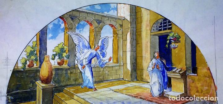 LA ANUNCIACIÓN. ACUARELA SOBRE PAPEL. FIRMADO GORGUES. ESPAÑA. 1980 (Arte - Arte Religioso - Pintura Religiosa - Acuarela)