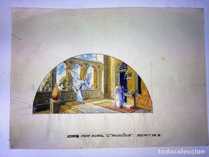 Arte: LA ANUNCIACIÓN. ACUARELA SOBRE PAPEL. FIRMADO GORGUES. ESPAÑA. 1980 - Foto 2 - 111094967