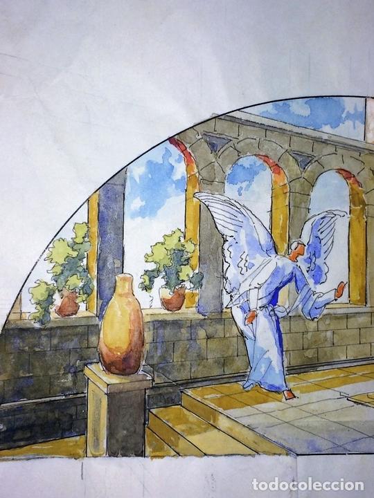 Arte: LA ANUNCIACIÓN. ACUARELA SOBRE PAPEL. FIRMADO GORGUES. ESPAÑA. 1980 - Foto 3 - 111094967