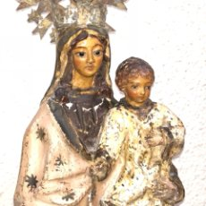 Arte: VIRGEN CON NIÑO , TALLA SOBRE MADERA S.XVIII. Lote 111096528