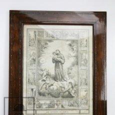 Arte: ANTIGUO GRABADO RELIGIOSO DEL SIGLO XIX, ENMARCADO - SAN ANTONIO DE PADUA - MEDIDAS 56 X 69,5 CM. Lote 111099639