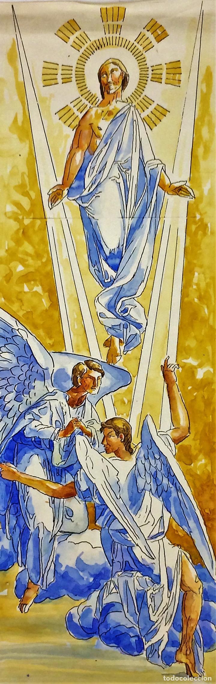 LA RESURRECCIÓN DE CRISTO. ACUARELA SOBRE PAPEL. ATRIB. GORGUES. ESPAÑA. CIRCA 1950 (Arte - Arte Religioso - Pintura Religiosa - Acuarela)
