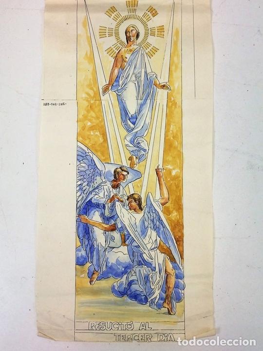 Arte: LA RESURRECCIÓN DE CRISTO. ACUARELA SOBRE PAPEL. ATRIB. GORGUES. ESPAÑA. CIRCA 1950 - Foto 2 - 111102563