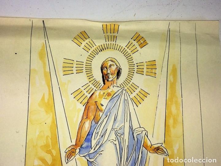 Arte: LA RESURRECCIÓN DE CRISTO. ACUARELA SOBRE PAPEL. ATRIB. GORGUES. ESPAÑA. CIRCA 1950 - Foto 3 - 111102563