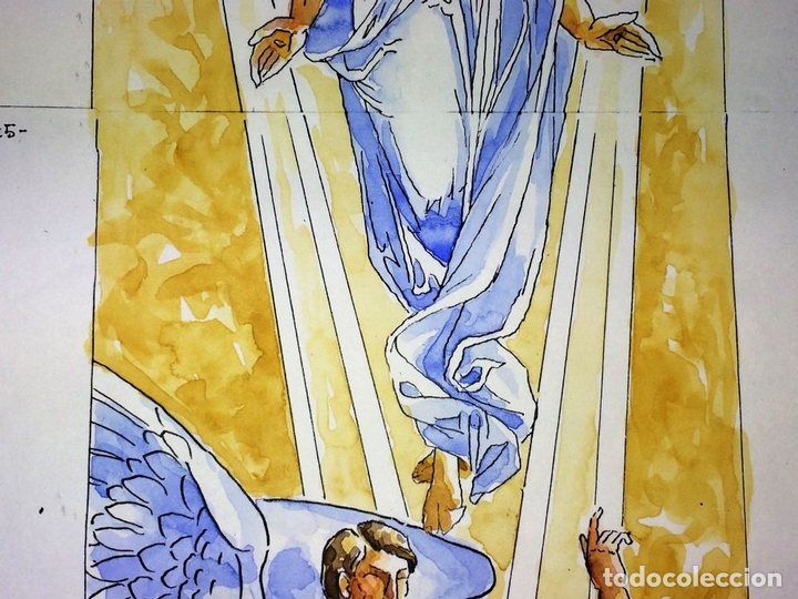 Arte: LA RESURRECCIÓN DE CRISTO. ACUARELA SOBRE PAPEL. ATRIB. GORGUES. ESPAÑA. CIRCA 1950 - Foto 4 - 111102563