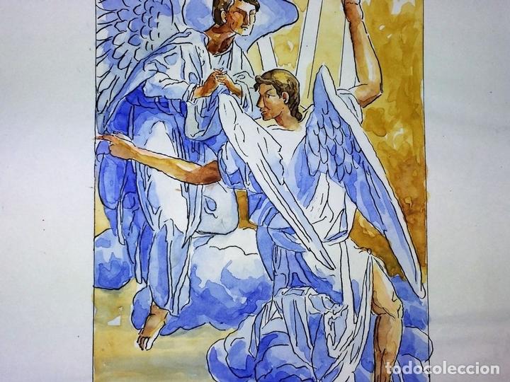 Arte: LA RESURRECCIÓN DE CRISTO. ACUARELA SOBRE PAPEL. ATRIB. GORGUES. ESPAÑA. CIRCA 1950 - Foto 5 - 111102563