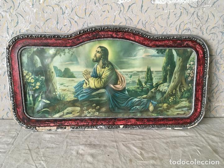 MUY ANTIGUO CUADRO DE CRISTO ORANDO EN EL HUERTO. CABECERO DE CAMA. (Arte - Arte Religioso - Pintura Religiosa - Otros)