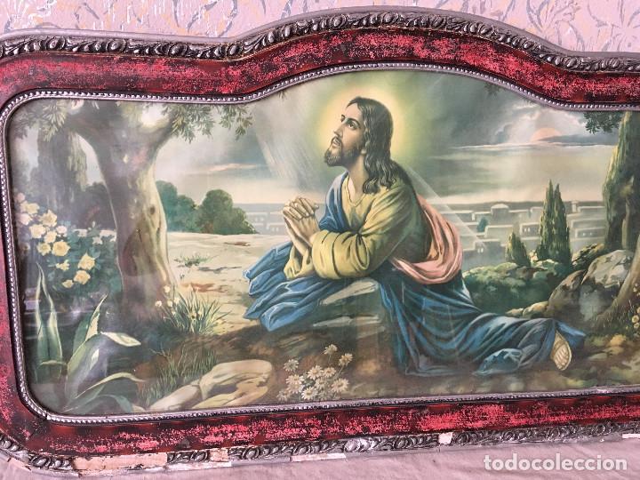 Arte: MUY ANTIGUO CUADRO DE CRISTO ORANDO EN EL HUERTO. CABECERO DE CAMA. - Foto 3 - 111180555