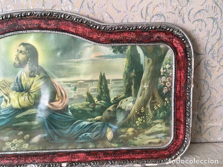 Arte: MUY ANTIGUO CUADRO DE CRISTO ORANDO EN EL HUERTO. CABECERO DE CAMA. - Foto 4 - 111180555