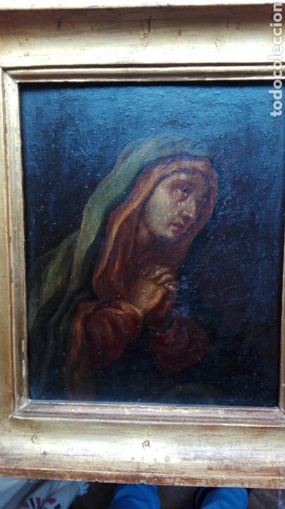 Arte: Virgen dolorosa s.XVIII? Nuevas fotos ver oleo tabla 35cmx30cm - Foto 2 - 96751728