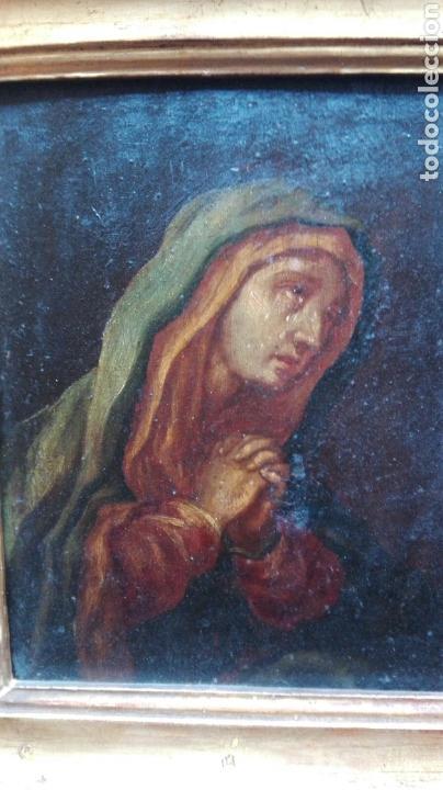 Arte: Virgen dolorosa s.XVIII? Nuevas fotos ver oleo tabla 35cmx30cm - Foto 4 - 96751728